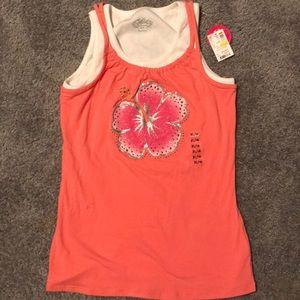 Girls pink tank top with rhinestones